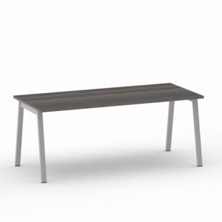 Vue 3D B-SIMO bureau L180_ plateau chêne grisé_ piètement métal argent