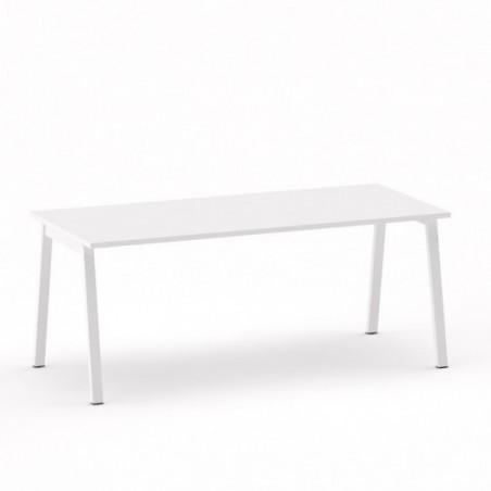 Vue 3D B-SIMO bureau L180_ plateau blanc_ piètement métal blanc