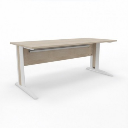 Vue 3D bureau G-SIMO L180_ plateau acacia clair_ structure métal blanc