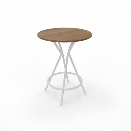 Table haute_diamètre 80_plateau Acacia foncé_pied Blanc