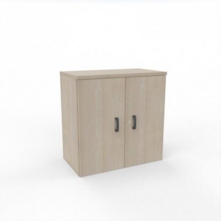 armoire portes battantes O-SIMO_ L60 H82_5_ acacia clair_ 1 étagère métal blanc